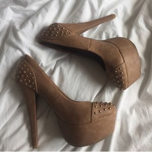 Studded heels worn once! Size 8